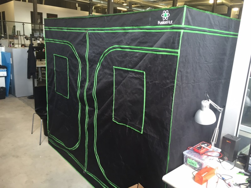 Image of Grobo's large growing tent at the office.