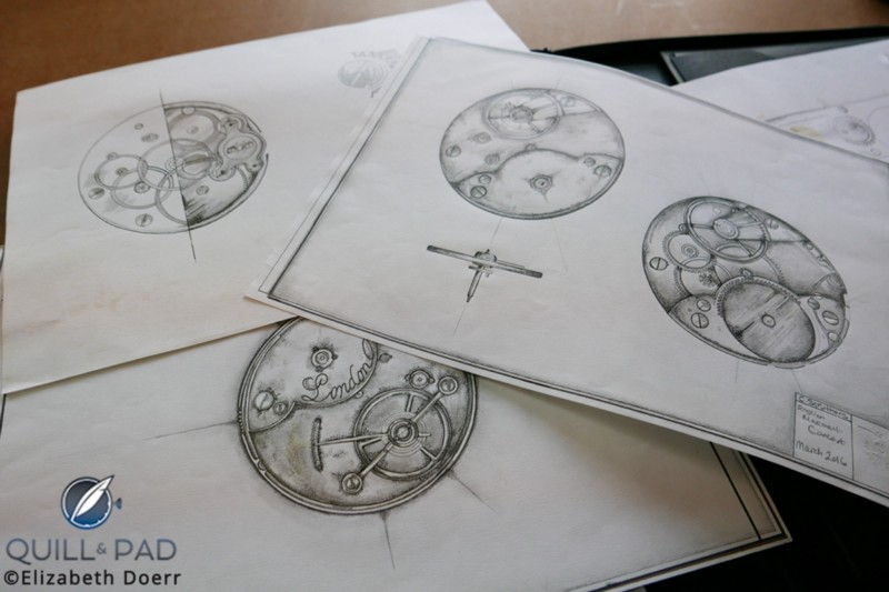 Drawings for the beginnings of a bespoke project at the Struthers workshop