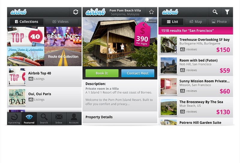 The old Airbnb Android app