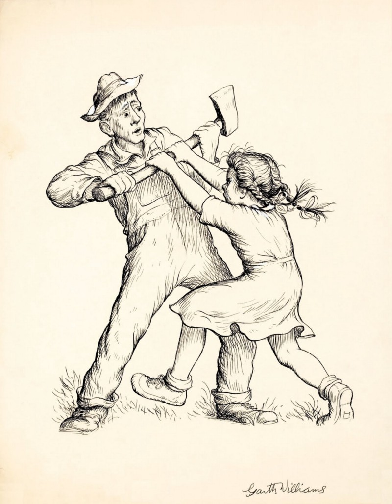 Dont Kill Wilbur! John Arable fights with his daughter Fern over an axe as he intends to kill the runt Wilbur.