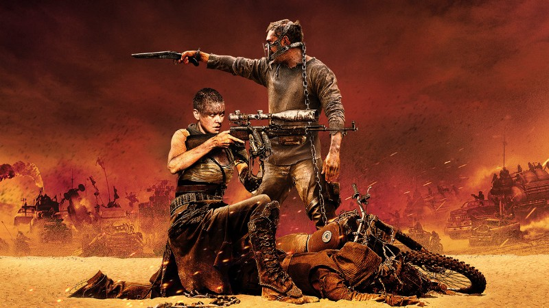 "Mad Max and Imperator Furiosa from ""Mad Max: Fury Road"" fighting alongside each other"