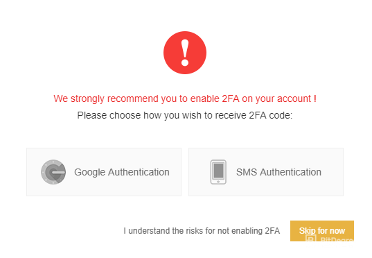 "Message on Binance site ""We strongly recommend you to enable 2FA on your account"""