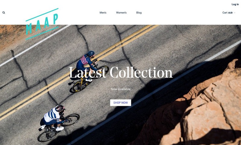 MAAP header with two pro cyclists on the road a cta to shop their latest collection