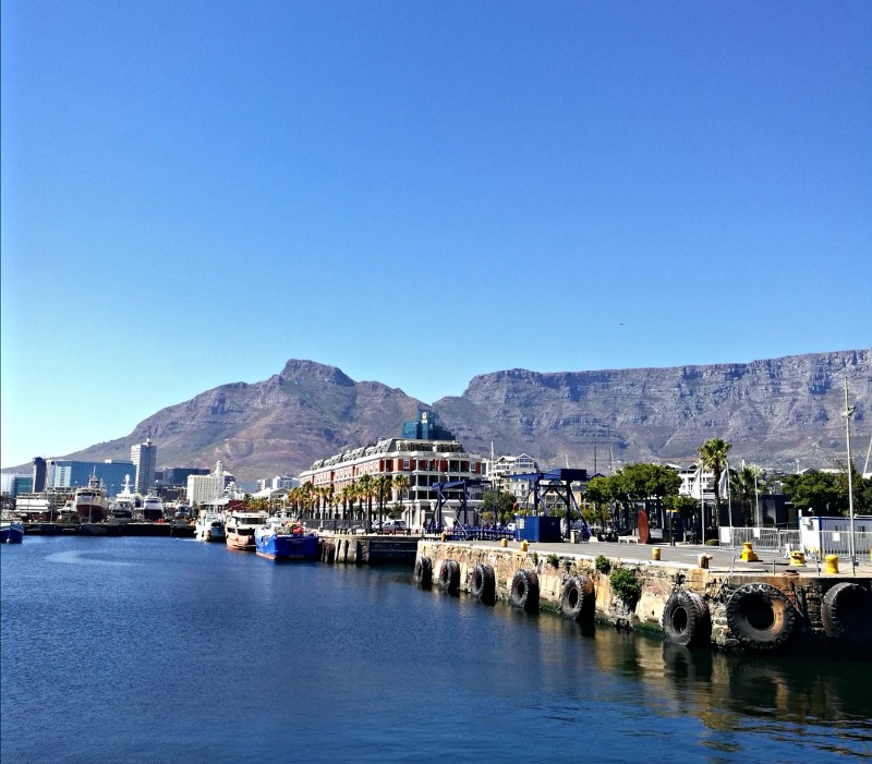 view of table mountain from v&a waterfront, cape town