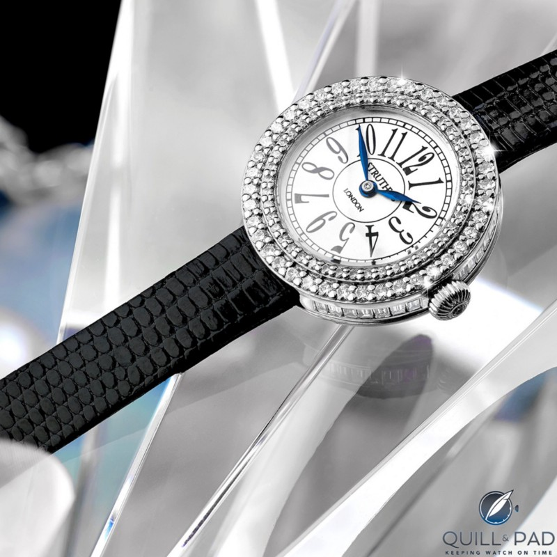 The Struthers Polly: this is a bespoke watch project powered by a refurbished IWC Caliber 96 from the 1940s that began with 118 diamonds from a pair of the client's earrings