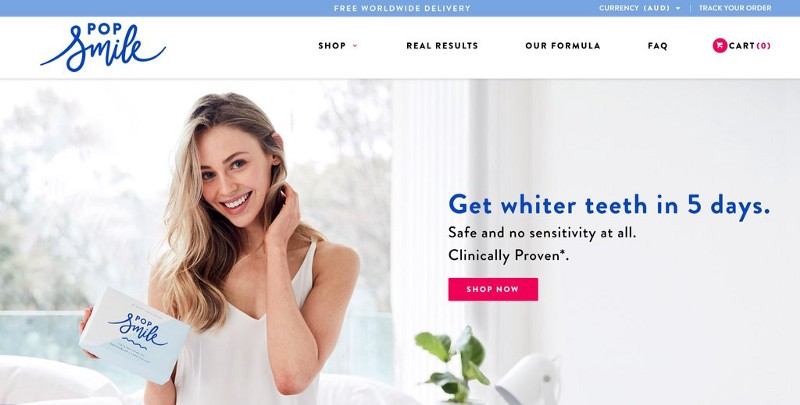 Pop Smile header with a smiling woman with white teeth and a cta to shop now