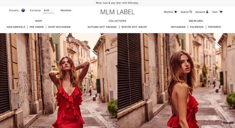 MLM Label header with a woman wearing a red dress posing on an old street and different ctas