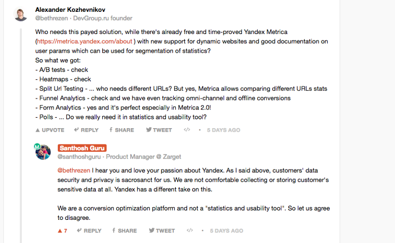 ProductHunt comment - competitors