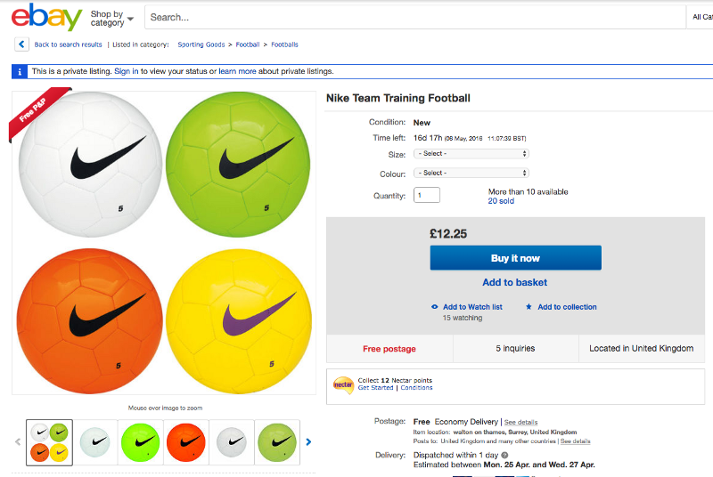 ebay football product page