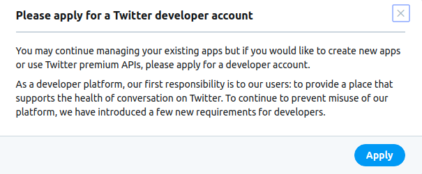 twitter developer account