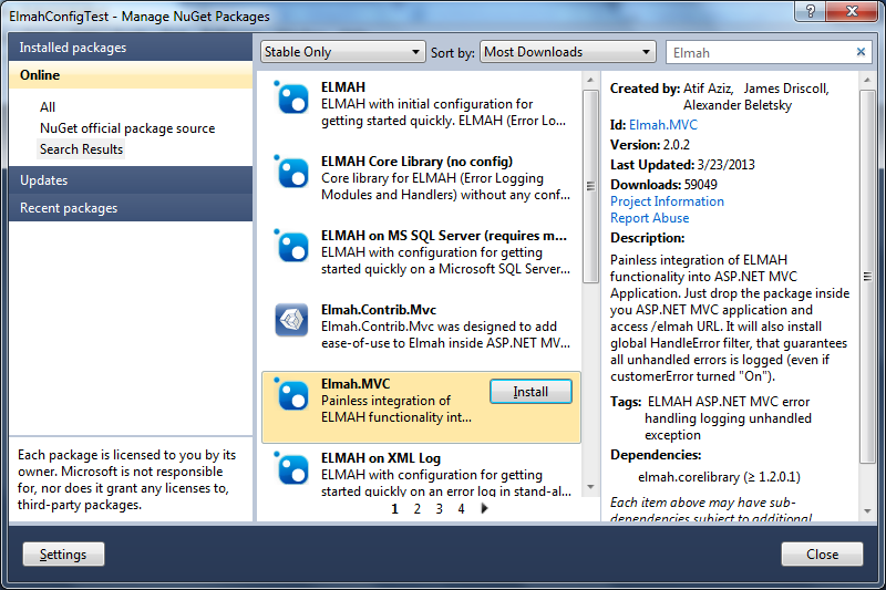 Step 2 - Elmah - Elmah mvc nuget search
