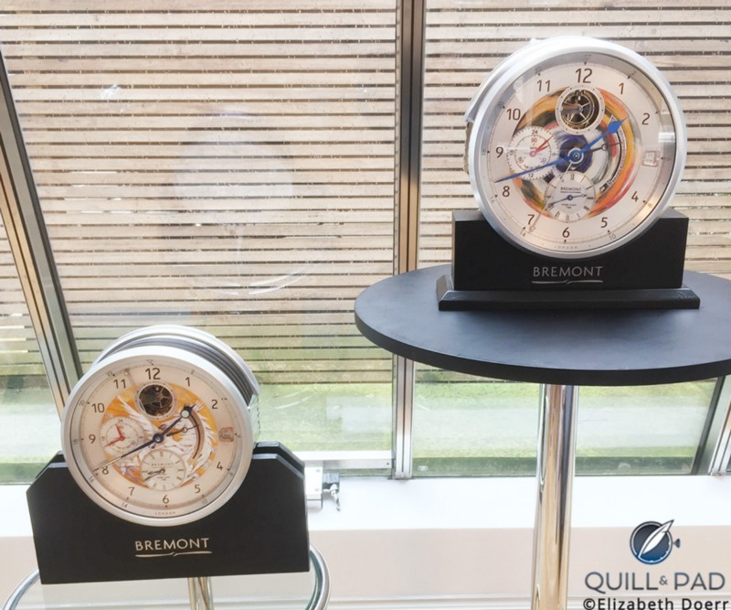 "The two clocks tha tRonnie Wood has painted for Bremont to date: ""Wild Horses"" (left) and ""I Feel Like Painting"""