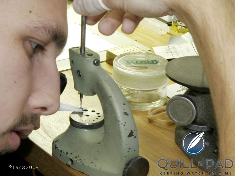 Watchmaker Sébastien assembling an hour satellite for the Opus V in 2005, at that time Urwerk's watchmaking team was just Felix Baumgartner and himself