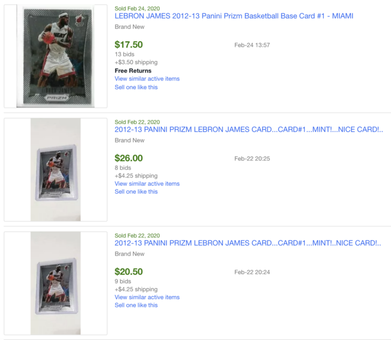 The best side hustle ideas - Image of eBay sold Lebron James cards.