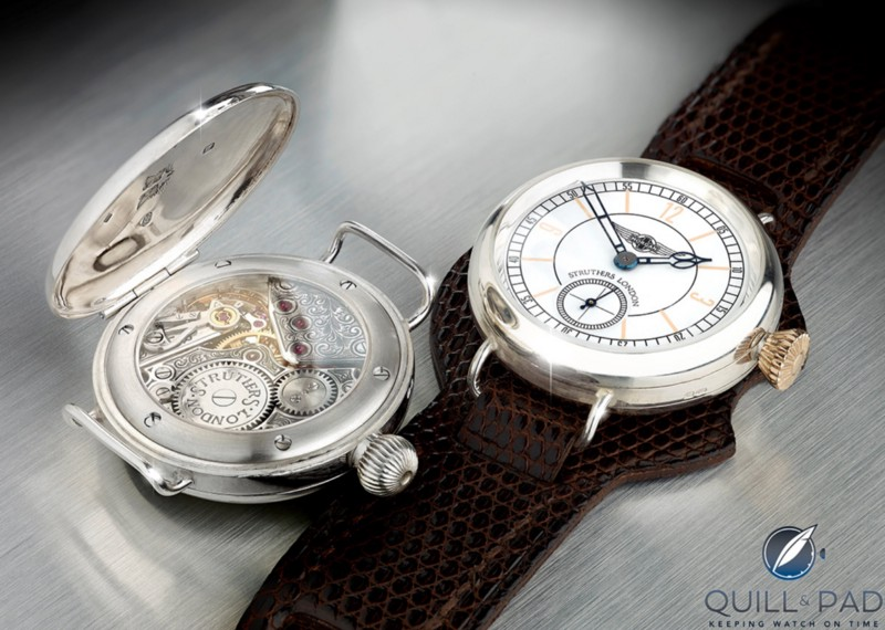 The Struthers for Morgan Motor Company retro trench watch with refurbished vintage Omega 26 series movement