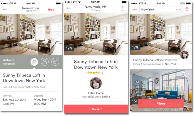 Airbnb's Mobile App (Image source)