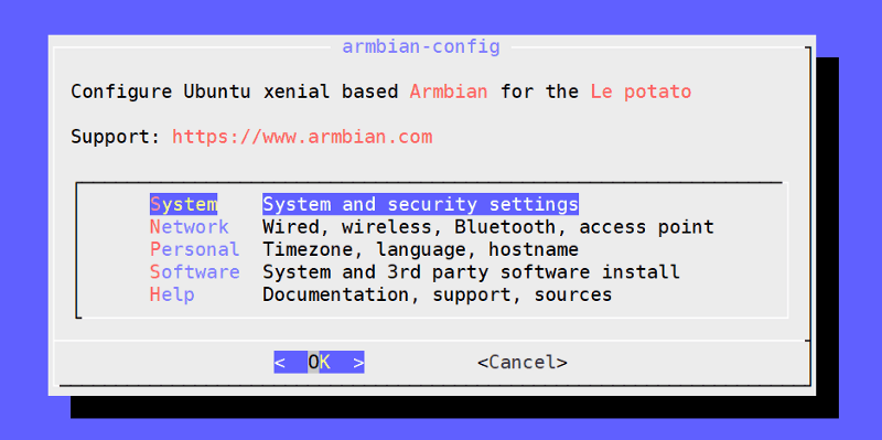 armbian-config utility