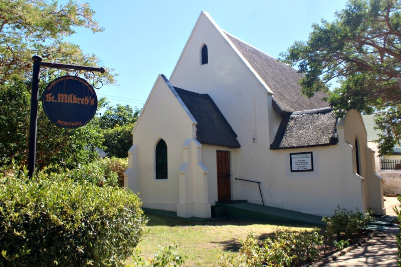 pretty white church in wine country south africa