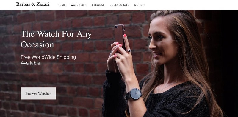Barbara and Zacari header with a woman taking a photo and wearing a watch and a cta to browse watches