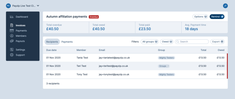 A screenshot of an invoice set. The total overdue amount is shown in the first of four dashboard header figures.