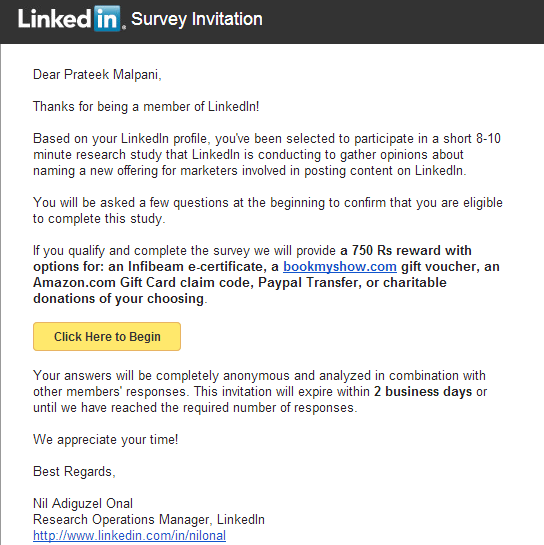 the perfect survey invitation email from linkedin hook line and clincher marketing blog. Black Bedroom Furniture Sets. Home Design Ideas