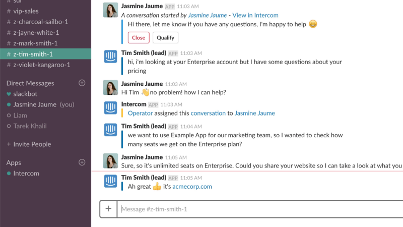 Intercom Slack integration