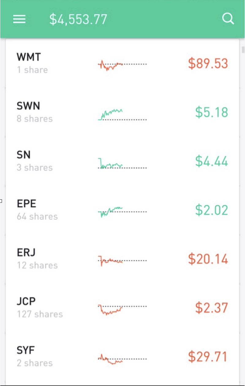 Mobile interface with stock tickers and balance amount