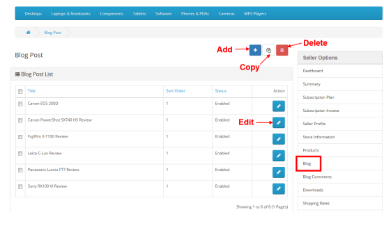 Opencart Multivendor extension helps you manage sellers blog