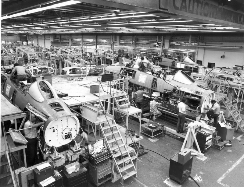 F-14s in production. Grumman photo