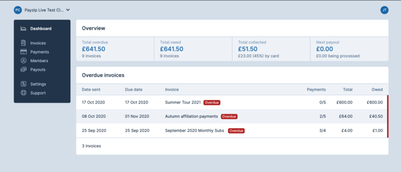 A screenshot of the Payzip dashboard showing invoice sets which have overdue invoices within them