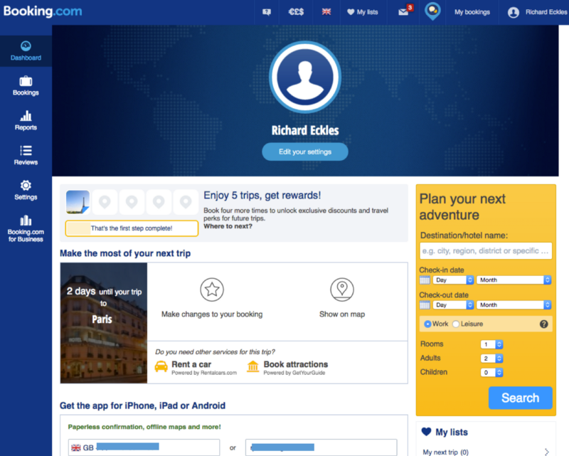 booking.com user account page