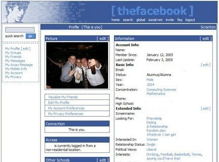 First Version of Facebook Website