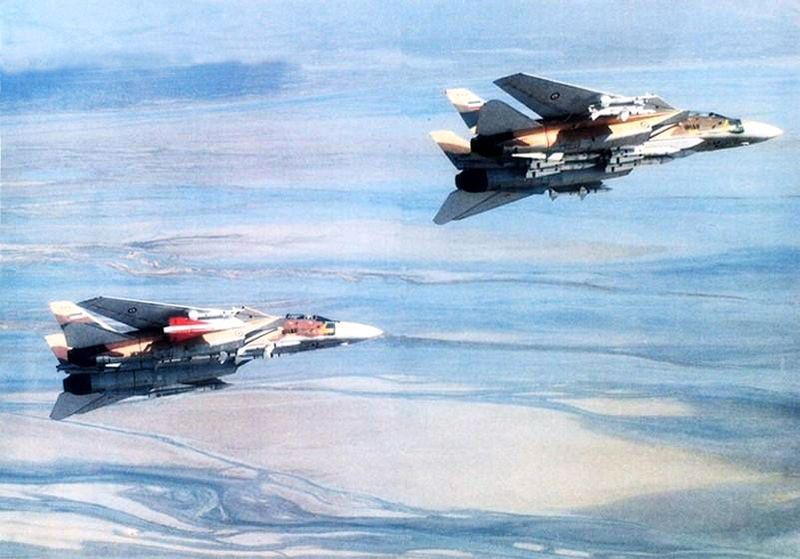 The F-14 at rear is carrying a Hawk missile