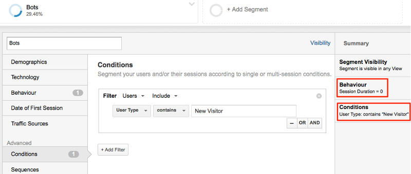 Create a GA Segment with session duration = 0 and user type = new visitor