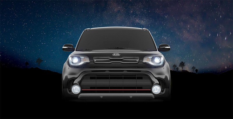 Kia Soul agasint the night sky