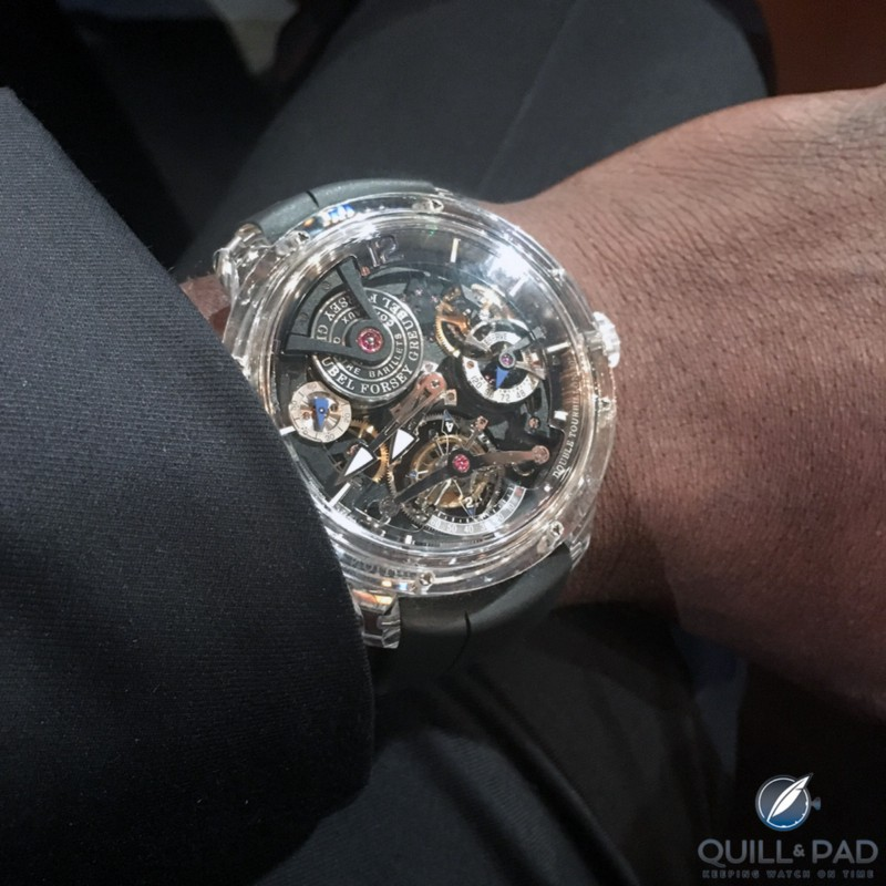 Wristshot of Aldus Hodge wear a Greubel Forsey Double Tourbillon 30° Technique Sapphire at the 2017 Academy Awards ceremony