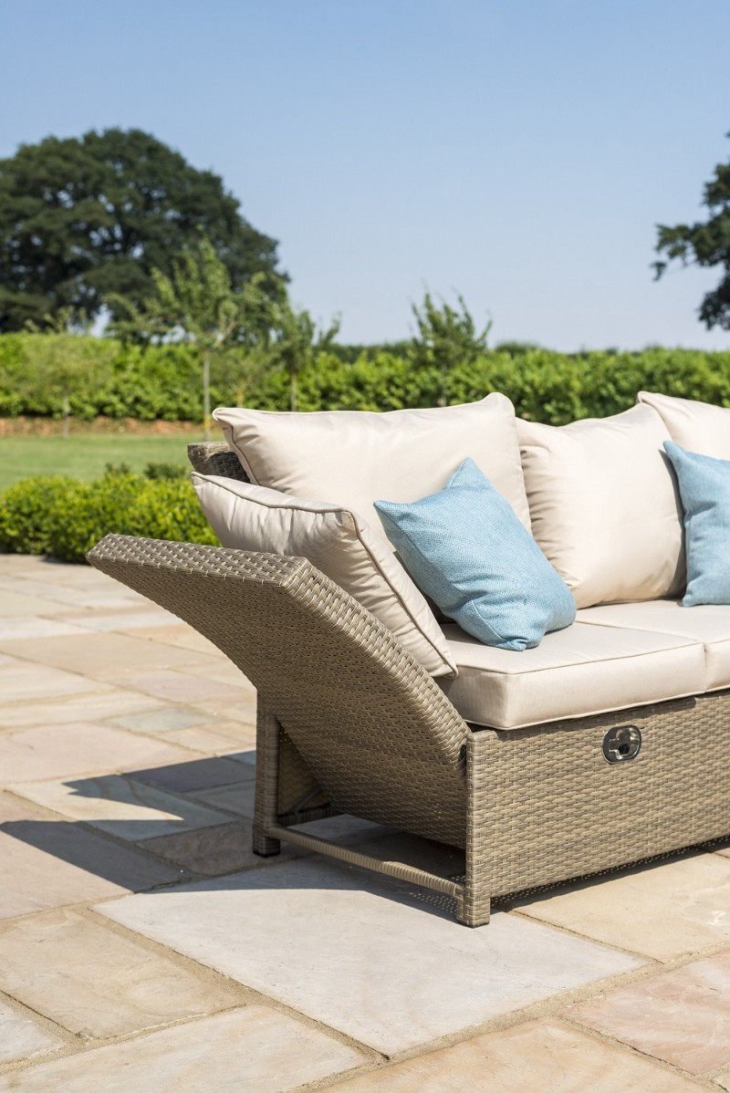 Maze Rattan Henley Garden Corner Sofa Dining Set With Rising Table—Tuscany Weave