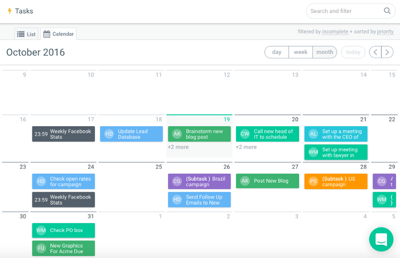 Calendar view to increase projects productivity