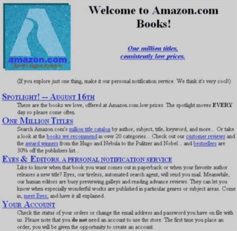 The Future of Marketplaces is Here - The 2020s & The Passion Economy - Amazon's first webpage