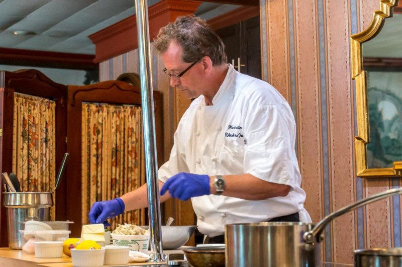 A crab cake cooking class Robert Morris Inn in the Historic town of Oxford, MD with Master Chef Mark Salter