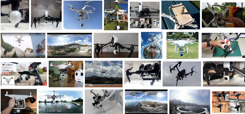 Many home-grown options for 360 cameras on a drone. (Screenshot of Google Image Search)