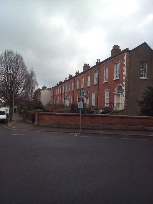 Terrace of houses on Belgrave Road, including No 9, built by Patrick Plunkett in 1855.