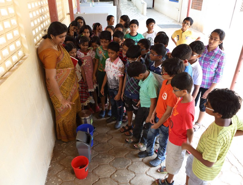 Introducing children to waste segregation at Arsha Vidya Mandir, Chennai