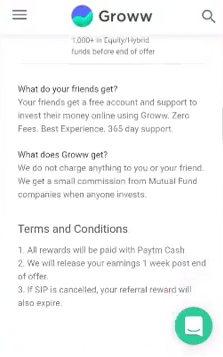 Groww Referral Rewards