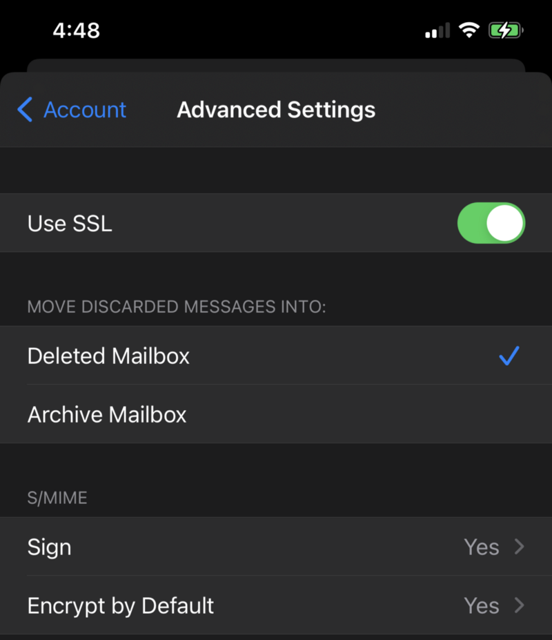Advanced S/MIME section in Apple Mail on iOS