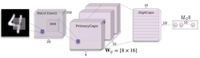 Diagram 4: CapsNet, the neural network using capsules