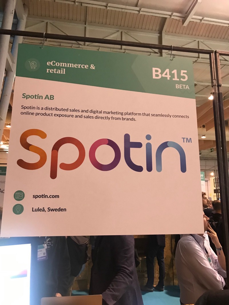 Spotin, startup in eCommerce from Sweden at Web Summit 2018