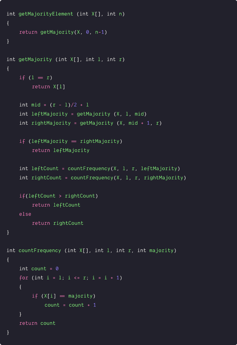 majority element in anarray using the divide and conquer pseudocode
