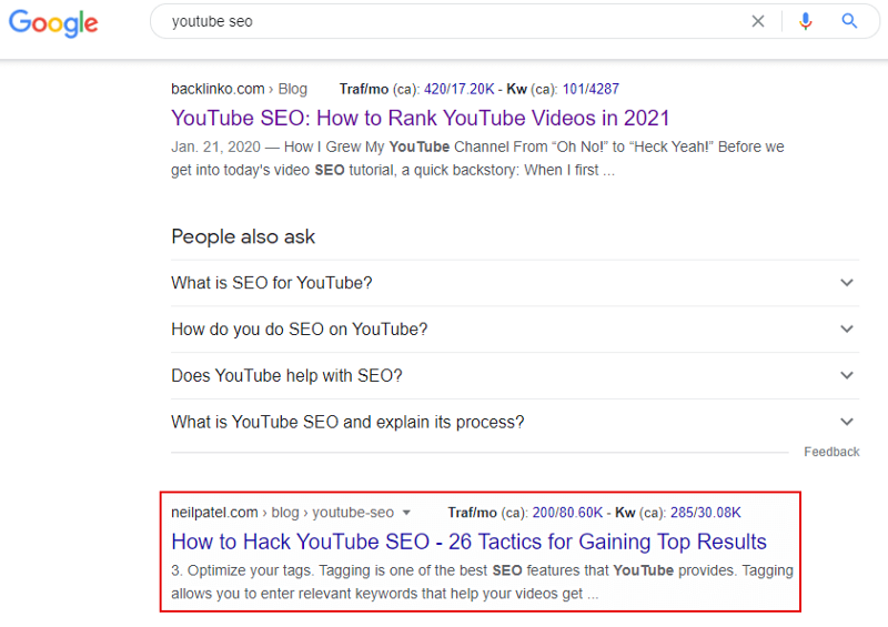 neil patel ranking 2nd for youtube seo