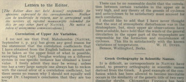 W H Dines' response in 1923 issue of Nature.